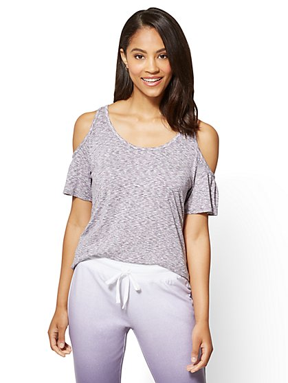 Hi-Lo Cold Shoulder Top - Space Dye - New York & Company
