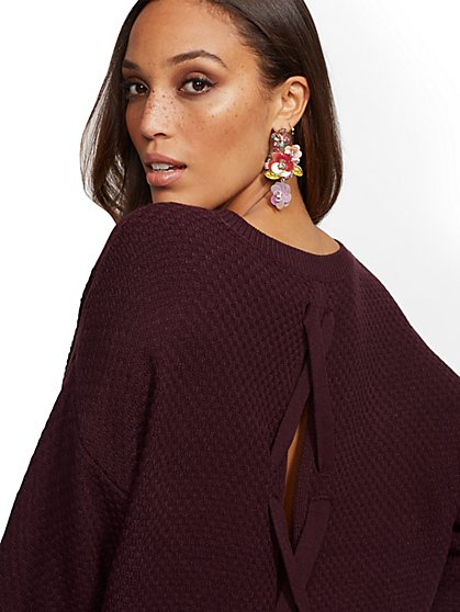 Hi-Lo Lace-Up Sweater - New York & Company
