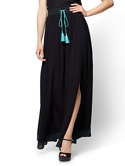 Hi-Lo Maxi Skirt - Black - New York & Company