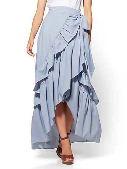 Hi-Lo Ruffled Wrap Skirt - New York & Company