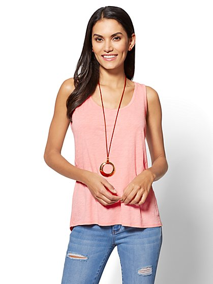 Hi-Lo Split-Back Tank Top - New York & Company