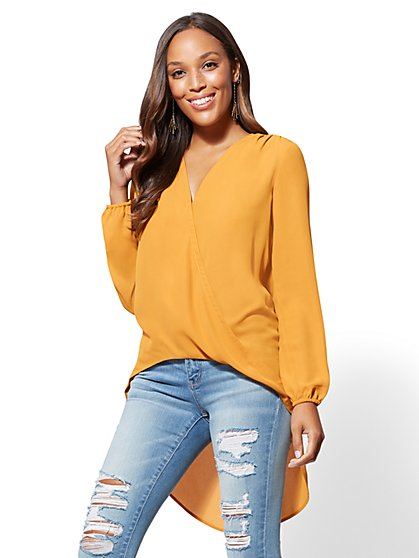 Hi-Lo Wrap Tunic Blouse - New York & Company