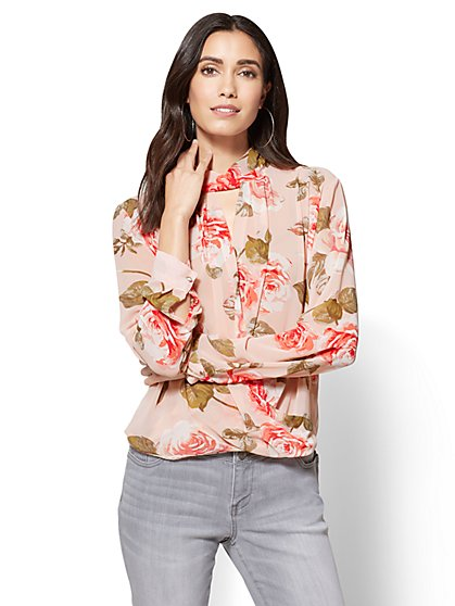 High-Neck Wrap Blouse - Floral  - New York & Company