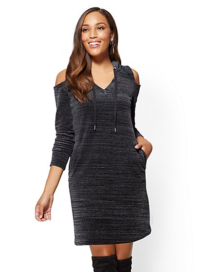 Hooded Cold-Shoulder Velour Shift Dress – Space Dye - New York & Company
