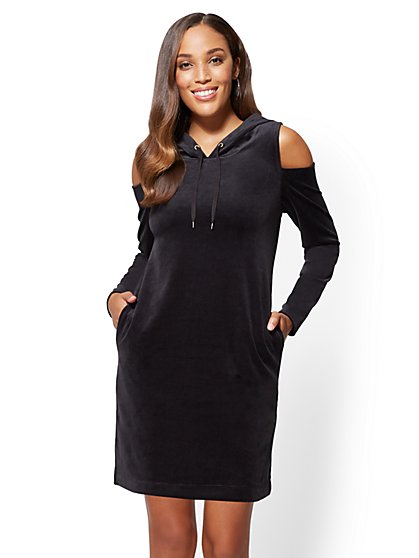 Hooded Cold-Shoulder Velour Shift Dress - New York & Company