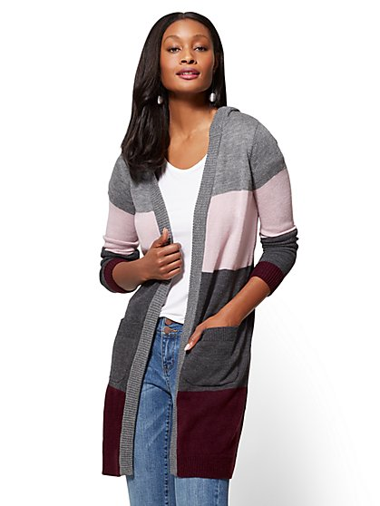 Hooded Duster Cardigan - Stripe - New York & Company