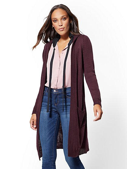 Hooded Duster Cardigan - New York & Company