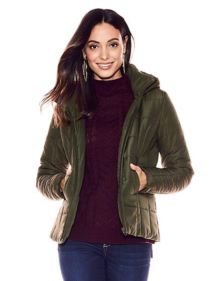 Hooded Puffer Jacket - New York & Company
