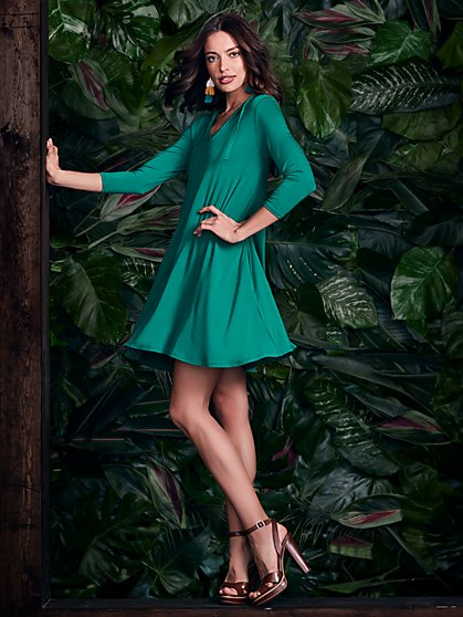 Hooded V-Neck Swing Dress - New York & Company