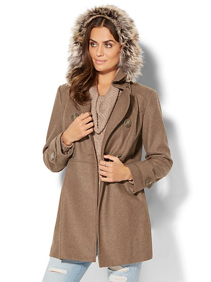 Hooded Wool-Blend Coat - New York & Company