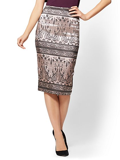 Jacquard Pull-On Pencil Skirt - New York & Company