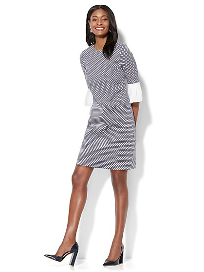 Jacquard Shift Dress - Navy - New York & Company