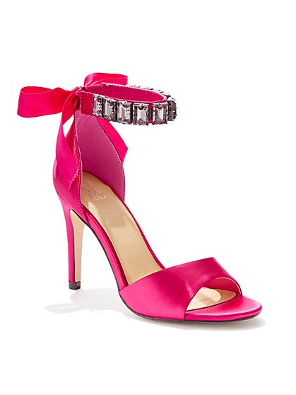 Jeweled-Accent Open-Toe Satin Pump - New York & Company