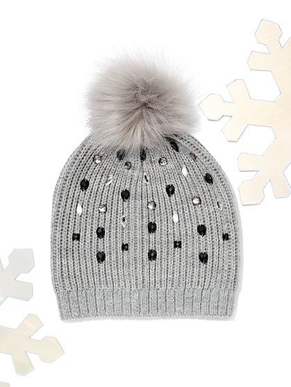 Jeweled Knit Pom-Pom Hat - New York & Company