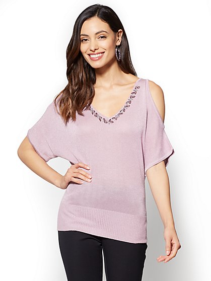 Jeweled Metallic Cold-Shoulder Sweater - New York & Company