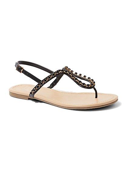 Jeweled T-Strap Sandal - New York & Company