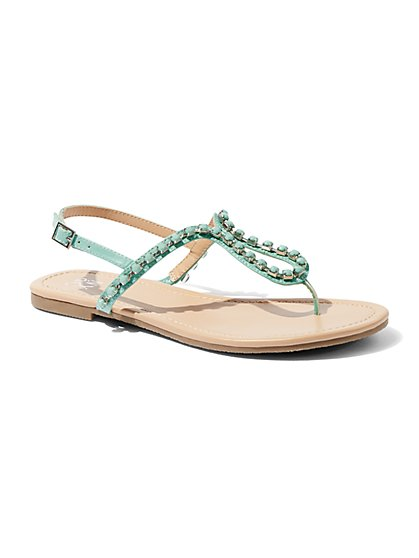 Jeweled T-Strap Sandal - New York & Company
