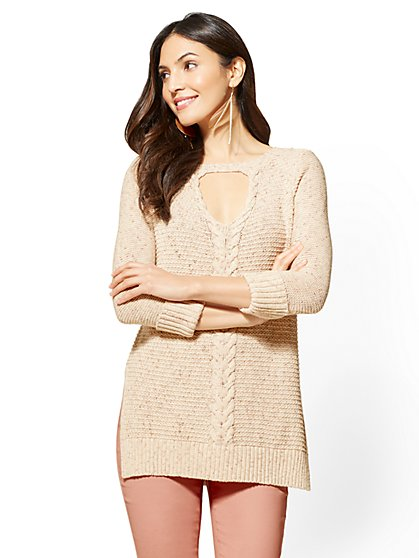 Keyhole Cable-Knit Tunic Sweater - Flecked Beige - New York & Company