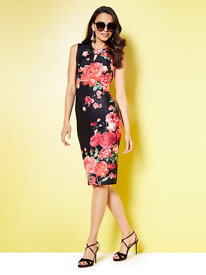 Keyhole Sheath Dress - Black - Floral - New York & Company