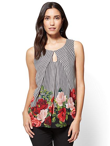 Keyhole Shell - Floral & Houndstooth Print  - New York & Company