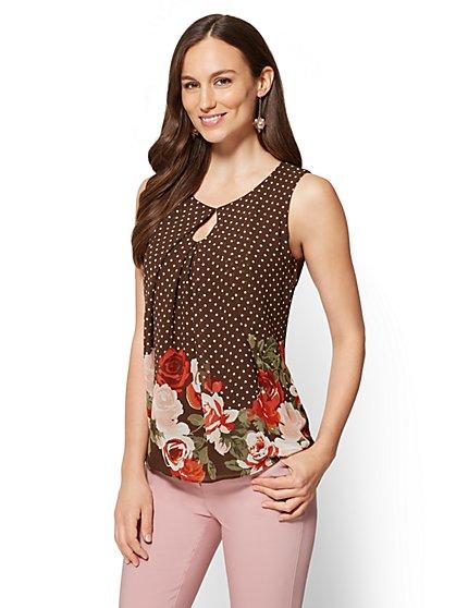Keyhole Shell - Floral & Polka-Dot Print  - New York & Company