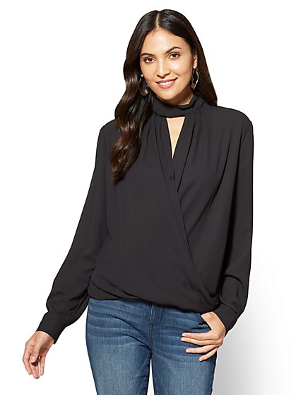 Keyhole Wrap Blouse  - New York & Company