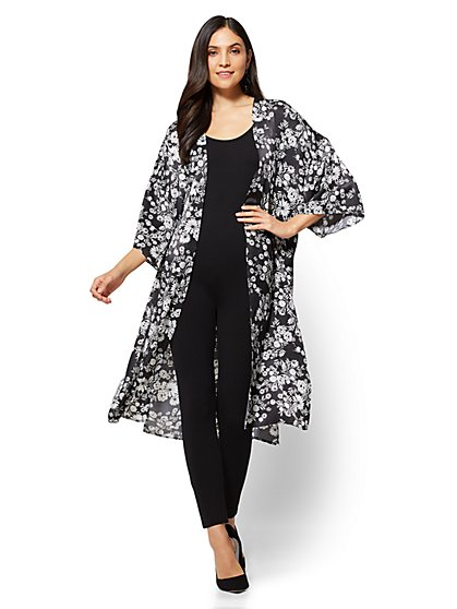 Kimono Duster Jacket - Black & White Floral - New York & Company