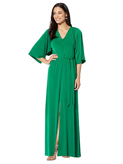 Kimono Maxi Dress - Green - New York & Company