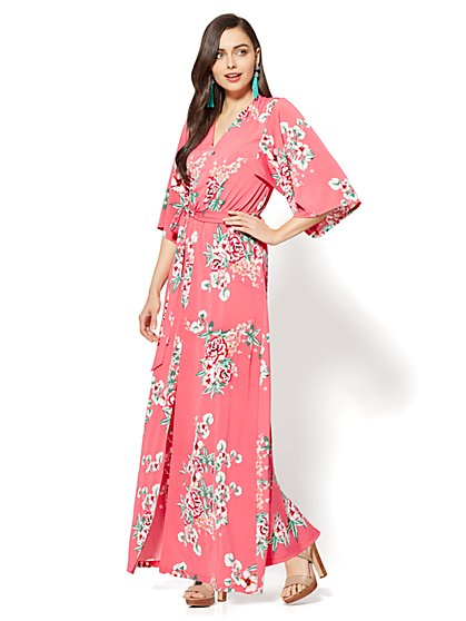 Kimono Maxi Dress - Pink Floral - Petite - New York & Company