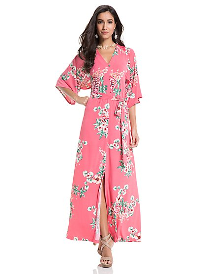 Kimono Maxi Dress - Pink Floral - New York & Company