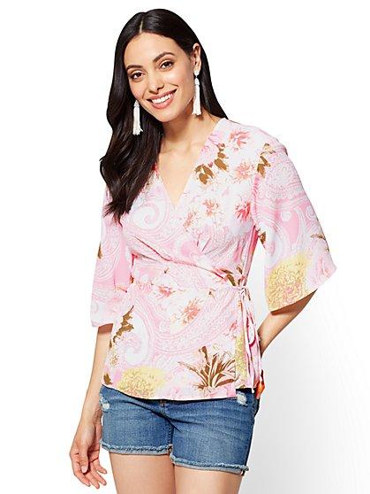 Kimono-Sleeve Wrap Blouse - New York & Company