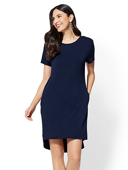 Knit & Woven T-Shirt Dress - New York & Company