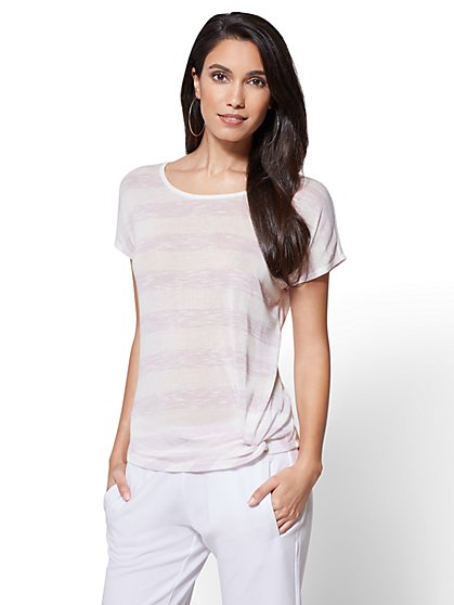 Knot-Front Scoopneck Tee - Stripe - New York & Company