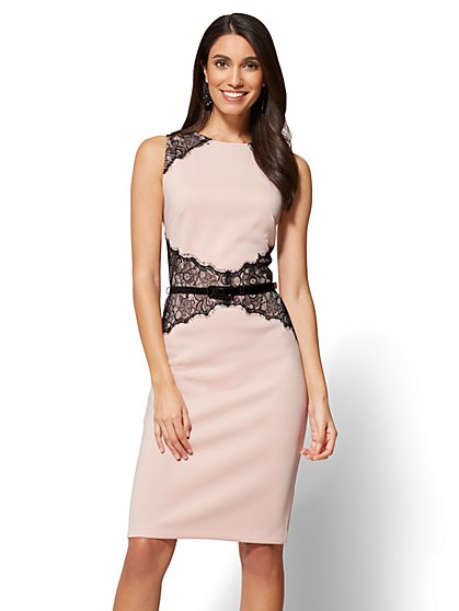 Lace-Accent Belted Sheath Dress - New York & Company