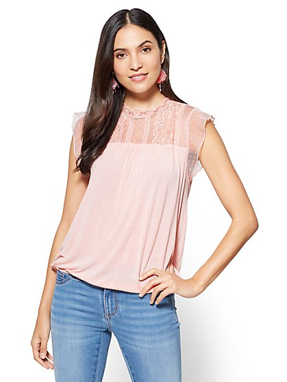 Lace-Accent Bubble-Hem Top  - New York & Company