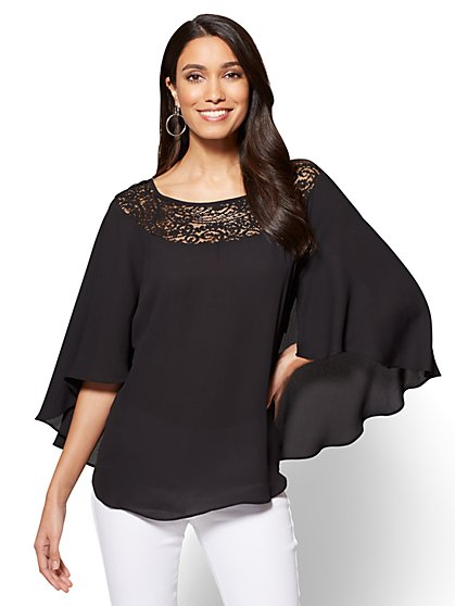 Lace-Accent Cape Blouse - New York & Company