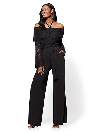 Lace-Accent Halter Jumpsuit - Black - Petite - New York & Company