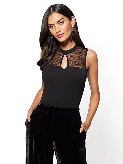 Lace-Accent Keyhole Bodysuit - New York & Company
