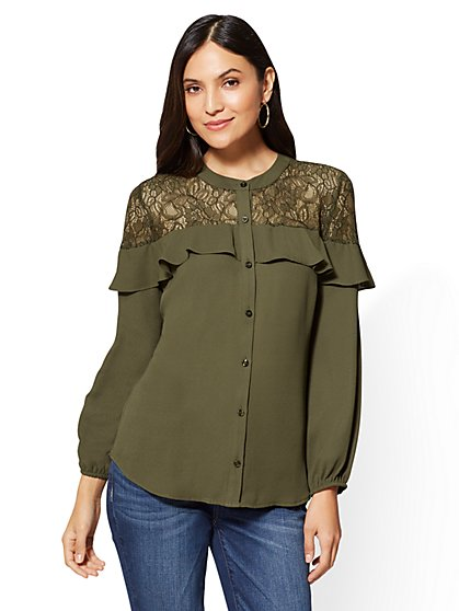 Lace-Accent Ruffled Blouse - New York & Company