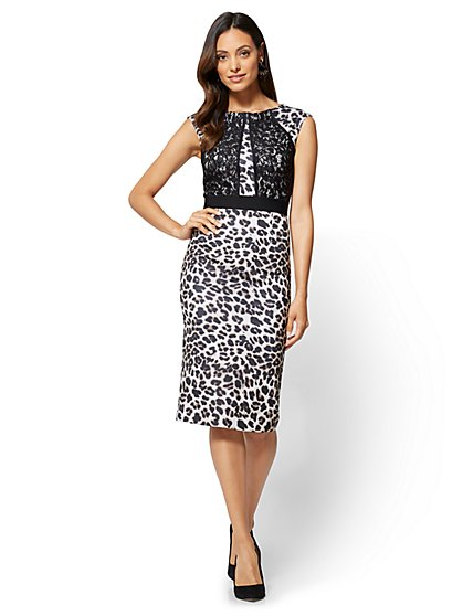 Lace-Accent Sheath Dress -Leopard Print - Tall - New York & Company