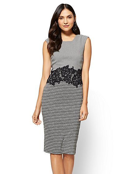 Lace-Accent Sheath Dress - Petite  - New York & Company