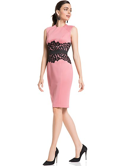 Lace-Accent Sheath Dress - New York & Company