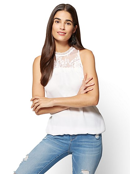 Lace-Accent Sleeveless Top  - New York & Company