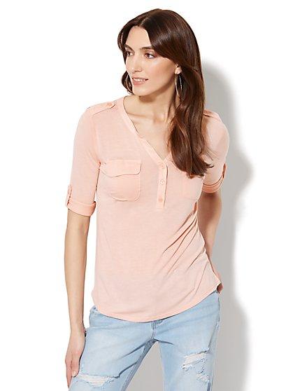Lace-Accent Split-Neck Knit Top - New York & Company