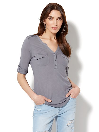 Lace-Accent Split-Neck Knit Top - New York & Company