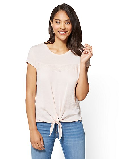 Lace-Accent Tie-Front Tee - New York & Company