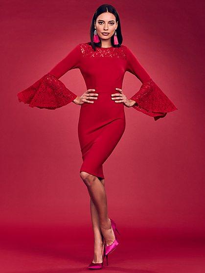 Lace Bell Sleeve Sheath Dress - New York & Company
