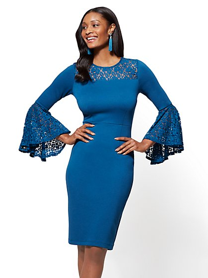 Lace Bell Sleeve Sheath Dress - New York & Company