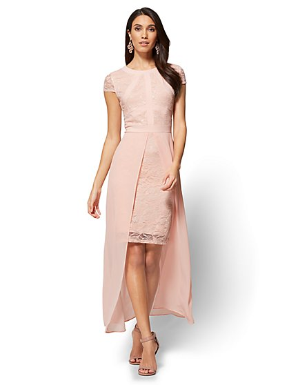 Lace & Chiffon Overlay Sheath Dress - New York & Company