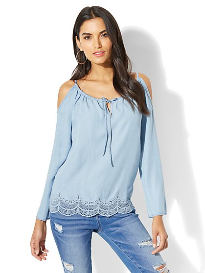 Lace Cold-Shoulder Blouse - Ultra-Soft Chambray - Light Indigo - New York & Company